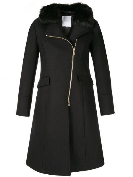 Приталенное синее шерстяное длинное пальто Loveless