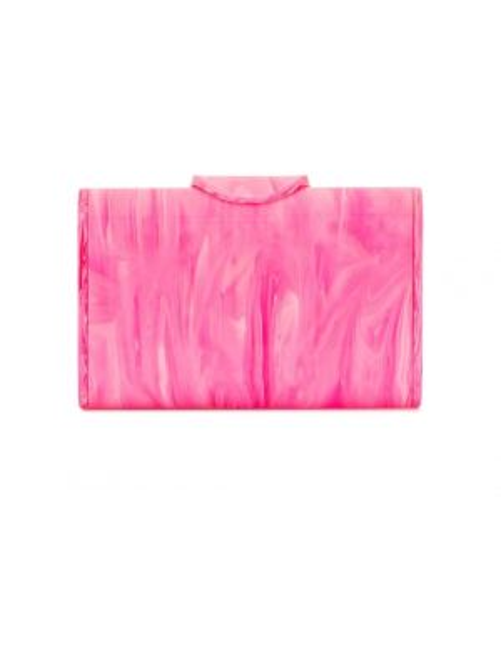 Кожаная золотистая розовая кожаная сумка прямоугольная Edie Parker