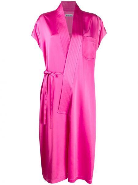 Платье розовое с запахом Balenciaga