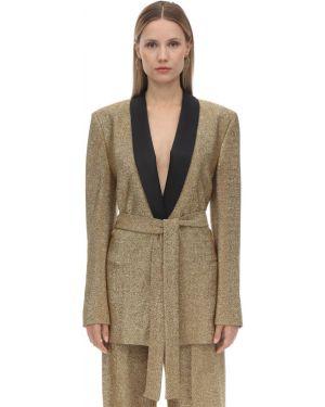 Пиджак с поясом золотой с отворотом Sara Battaglia