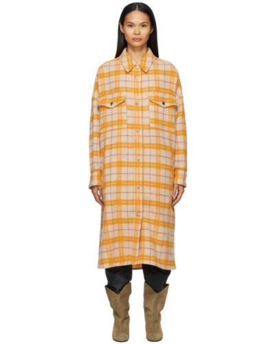 Шерстяное бежевое длинное пальто с воротником Isabel Marant étoile