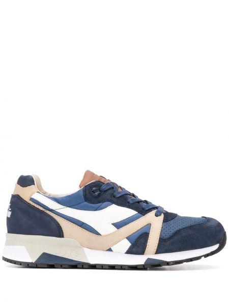 Синие кожаные кроссовки на шнуровке Diadora