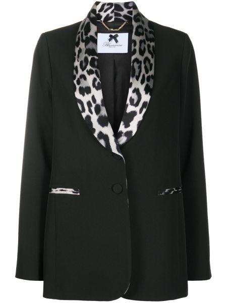 Шелковый черный удлиненный пиджак с карманами Blumarine