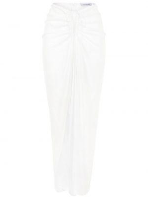 Белая юбка макси из вискозы с оборками Christopher Esber