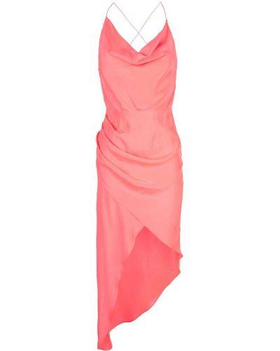 Czerwona sukienka asymetryczna z jedwabiu Haney