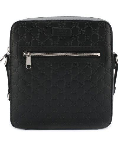Кожаная сумка текстильная с отделениями Gucci