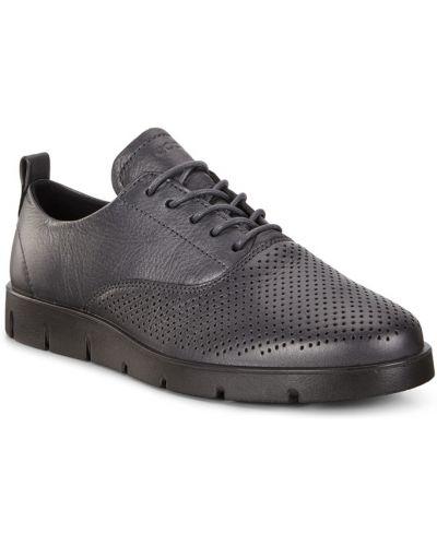 Кожаные полуботинки на шнурках серые Ecco