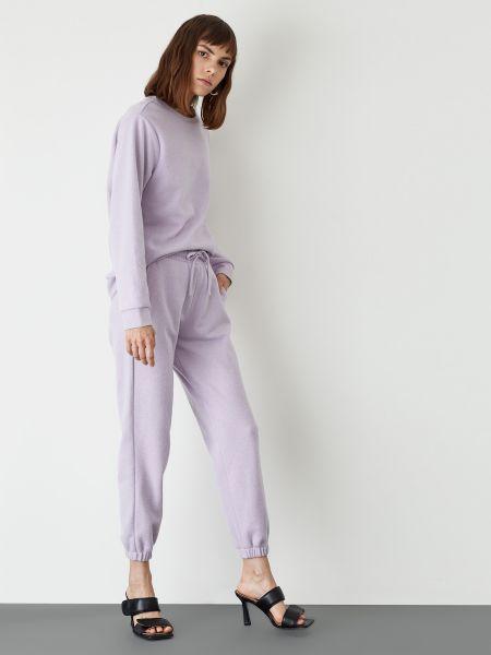 Фиолетовые хлопковые спортивные брюки на шнурках Defacto