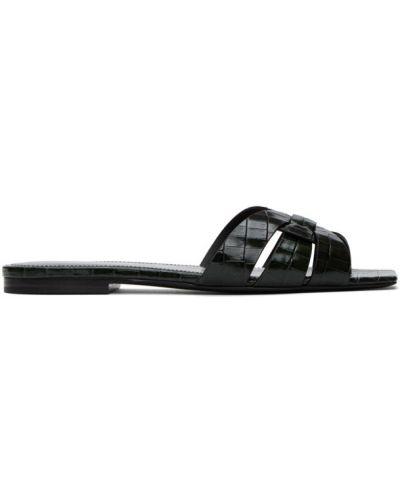 Открытые черные кожаные сандалии Saint Laurent