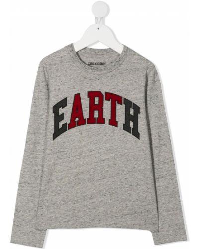 Хлопковая серая футболка с надписью с круглым вырезом Zadig & Voltaire Kids