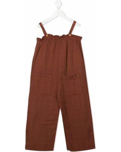 Хлопковый коричневый комбинезон с карманами без рукавов Buho