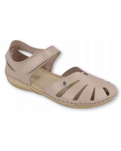 Beżowe sandały skorzane na rzepy Inblu