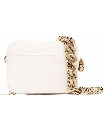 Złota torebka na łańcuszku - biała Kara