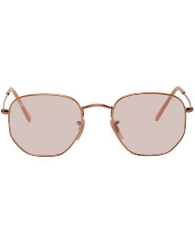 Розовые солнцезащитные очки металлические Ray-ban