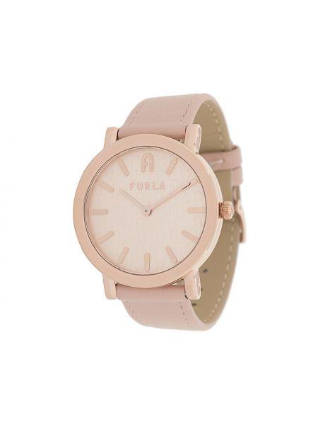 Skórzany z paskiem zegarek na skórzanym pasku okrągły złoto Furla
