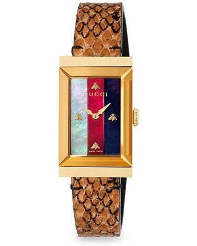 С ремешком кожаные часы на кожаном ремешке золотые Gucci