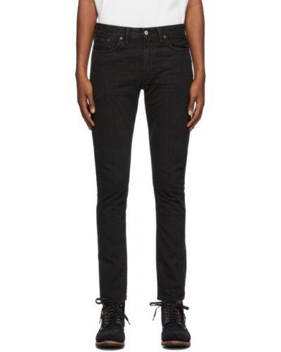 Кожаные черные джинсы стрейч с заплатками Rrl