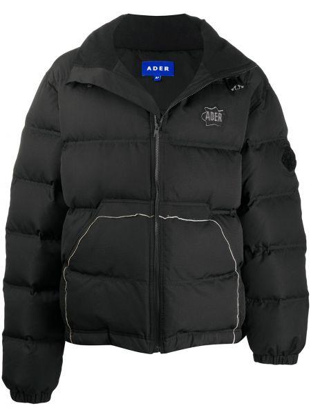 Z rękawami czarny długa kurtka z kieszeniami z łatami Ader Error