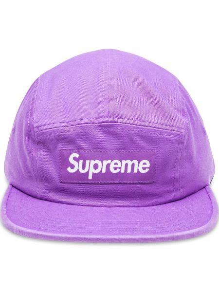 Fioletowa czapka bawełniana z klamrą Supreme