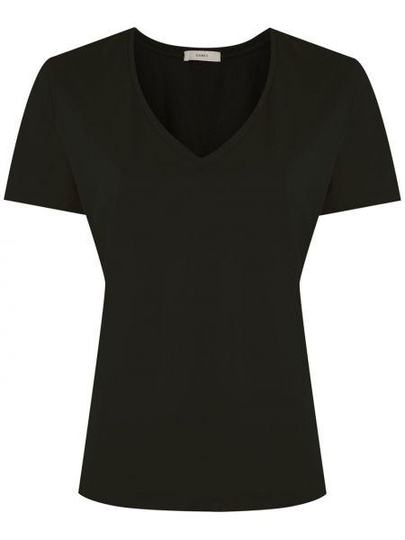 Хлопковая с рукавами черная футболка Egrey