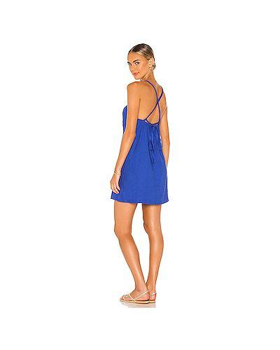 Синее платье на бретелях из вискозы Monrow