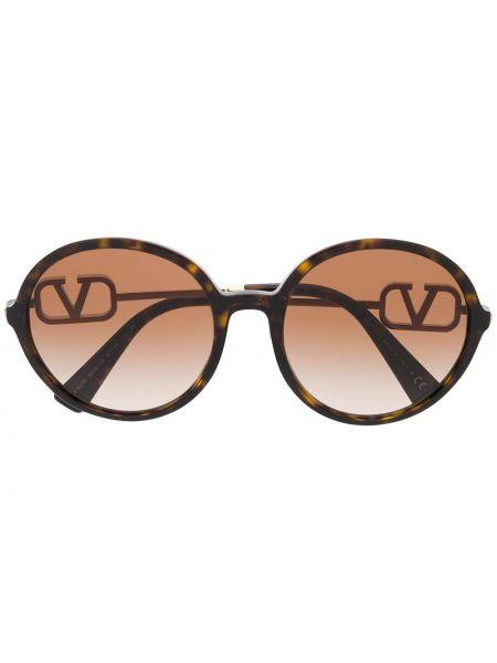 Солнцезащитные очки круглые хаки Valentino Eyewear