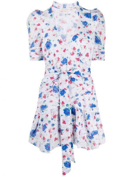 Белое платье мини с запахом с V-образным вырезом с короткими рукавами Loveshackfancy
