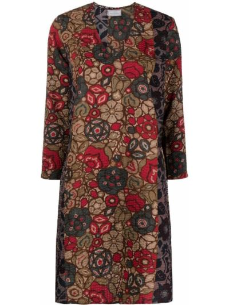 Расклешенное красное платье макси с вырезом Pierre-louis Mascia