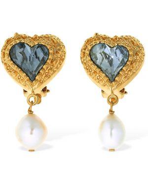 Niebieskie złote kolczyki sztyfty perły Saf Safu