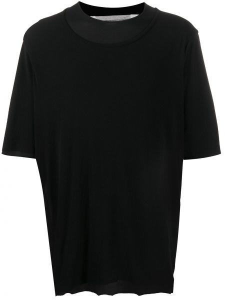 Черная прямая рубашка с коротким рукавом с вырезом круглая Individual Sentiments