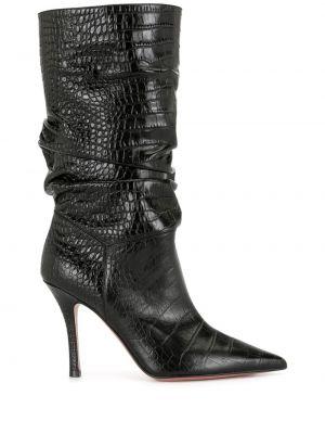 Черные кожаные сапоги на каблуке Amina Muaddi