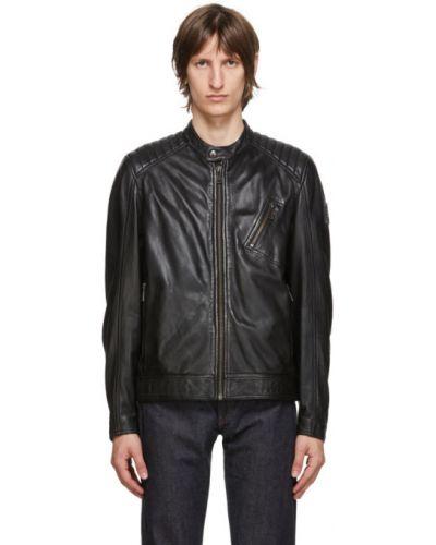 Czarny pikowana kurtka z mankietami z długimi rękawami z kieszeniami Belstaff