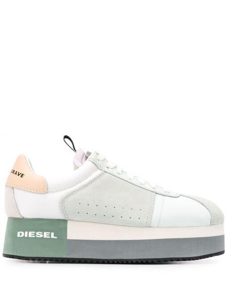 Кроссовки на платформе леопардовые с логотипом Diesel