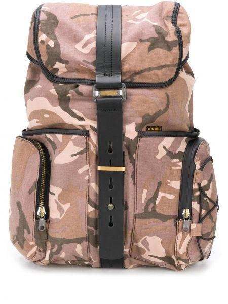 Коричневый рюкзак на бретелях с карманами на молнии G-star Raw