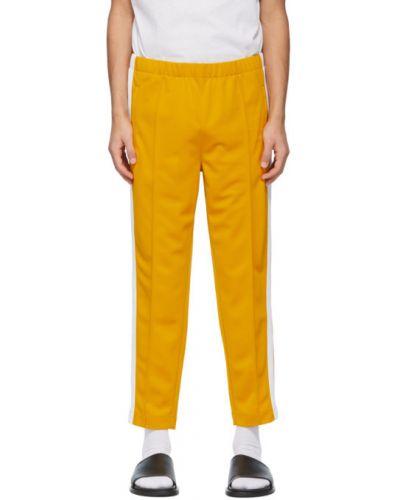 Żółte spodnie dresowe w paski z haftem Lacoste
