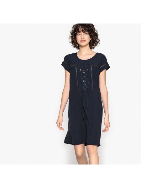 Темно-синее прямое платье мини с короткими рукавами из вискозы Sud Express