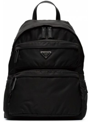 Czarny plecak z nylonu Prada