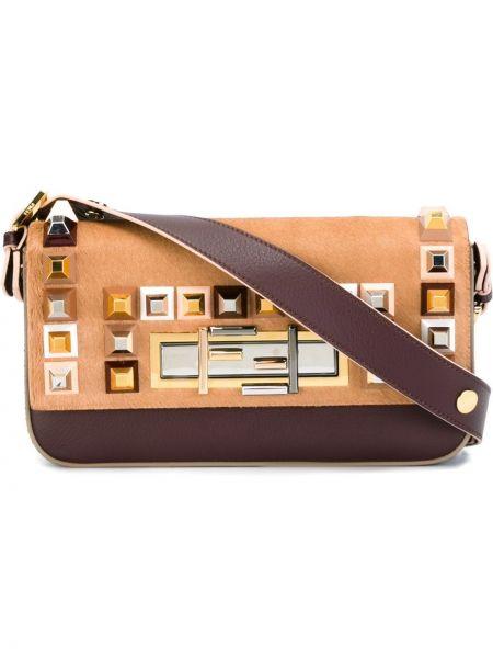 Z paskiem burgundia torba z logo z prawdziwej skóry Fendi