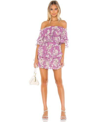 Розовое платье с подкладкой из вискозы с декольте Misa Los Angeles