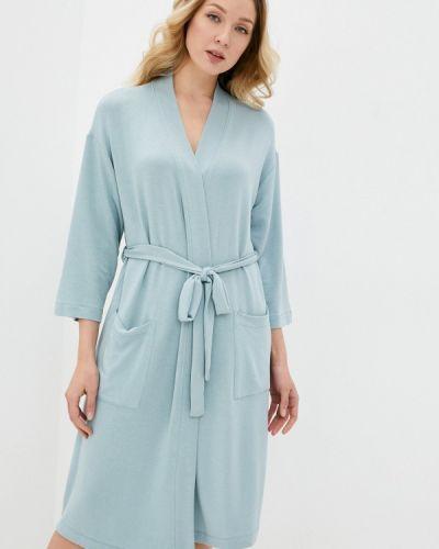 Бирюзовый трикотажный домашний халат Marks & Spencer