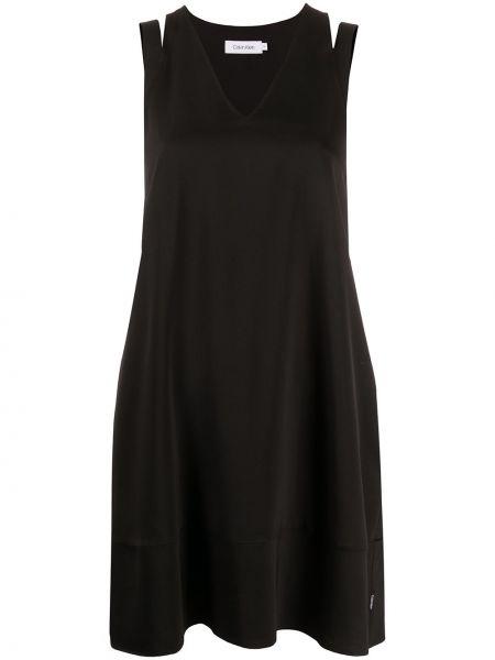 Платье мини с V-образным вырезом черное Calvin Klein