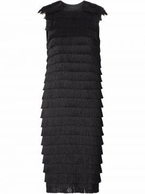 Платье с бахромой - черное Burberry