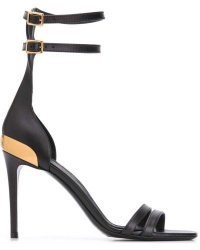 Открытые черные босоножки на высоком каблуке на каблуке с пряжкой Balmain