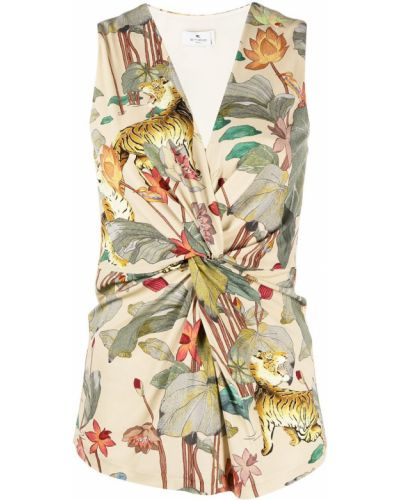 Прямая блузка без рукавов с V-образным вырезом Etro