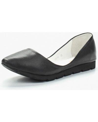 Черные кожаные балетки Vitacci