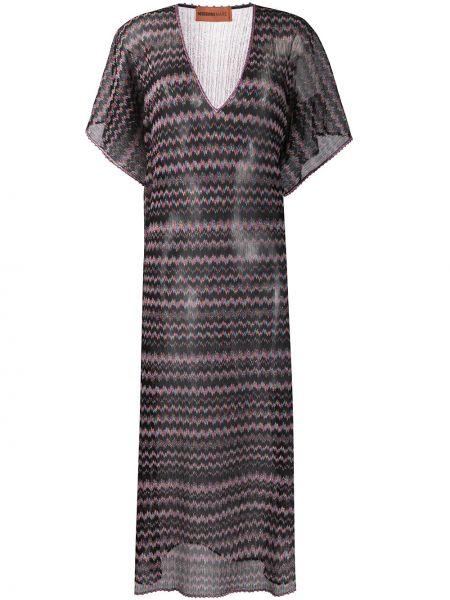 Черное платье мини с V-образным вырезом свободного кроя с короткими рукавами Missoni Mare