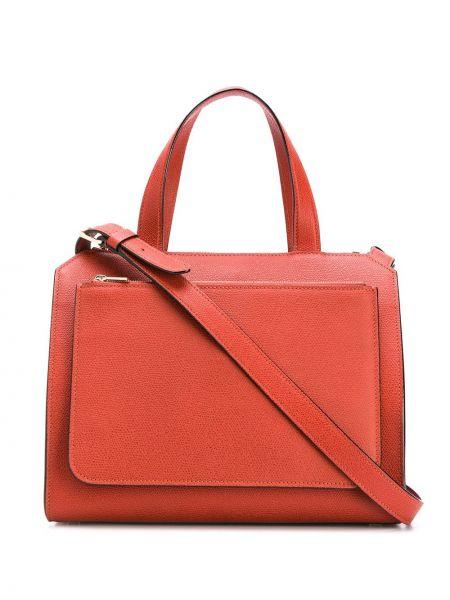 Кожаная оранжевая сумка-тоут круглая на молнии Valextra