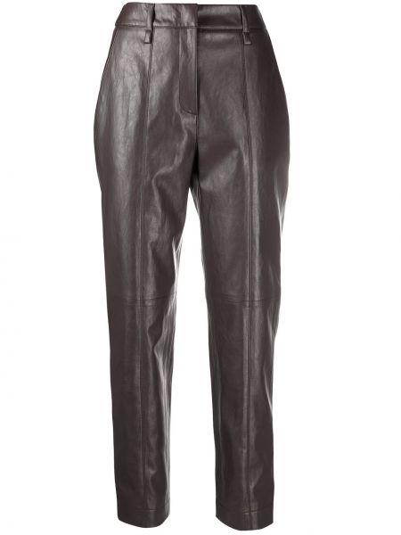 Кожаные серые брюки с карманами Luisa Cerano