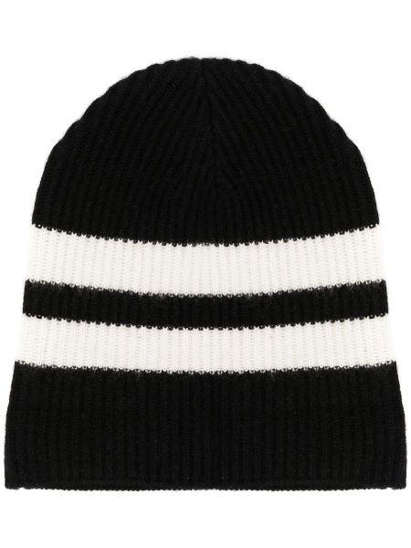 Кашемировая вязаная черная шапка бини в рубчик Cashmere In Love