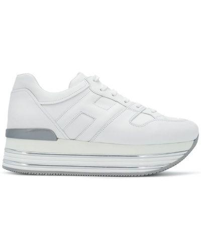 Белые кожаные кроссовки на платформе Hogan